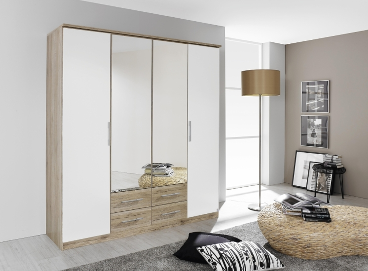 kleiderschrank gronau 180 cm 190 cm breit 4 t rig mit schubladen mit spiegel eiche sanremo. Black Bedroom Furniture Sets. Home Design Ideas