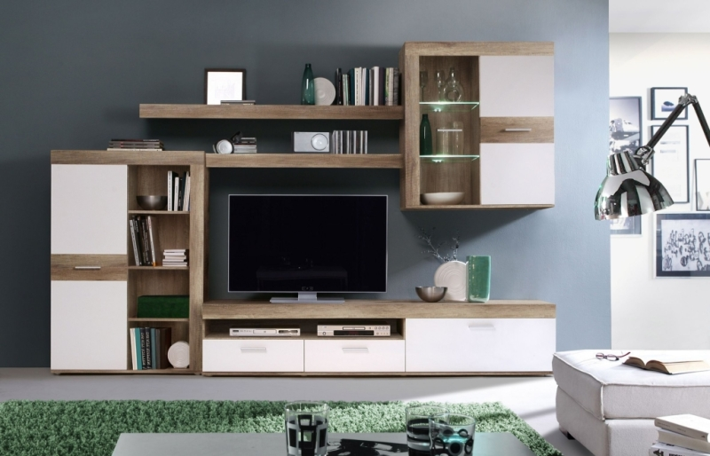 wohnwand zumba modern 300 cm breit eiche wei braun holzt ne. Black Bedroom Furniture Sets. Home Design Ideas