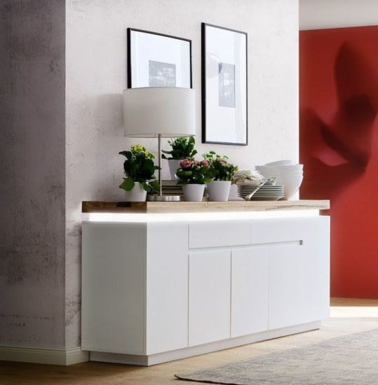 sideboard romina modern wei braun eiche 200 cm breit. Black Bedroom Furniture Sets. Home Design Ideas