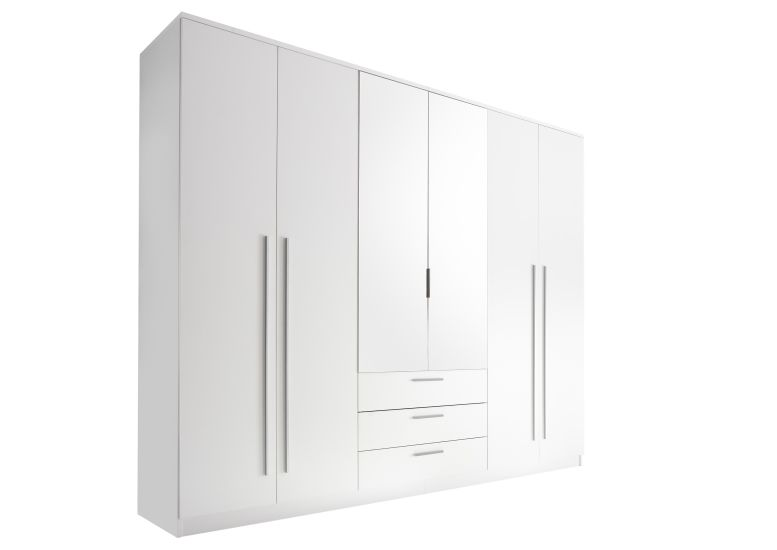 kleiderschrank neptun 270 cm breit 4 t rig mit schubladen mit spiegel wei. Black Bedroom Furniture Sets. Home Design Ideas