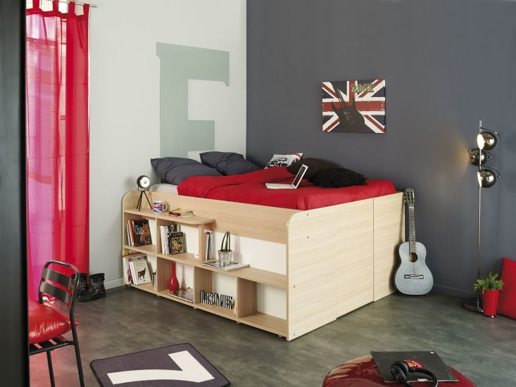 hochbett 140 x 200 cm space up baltimore eiche wei sb m bel discount. Black Bedroom Furniture Sets. Home Design Ideas