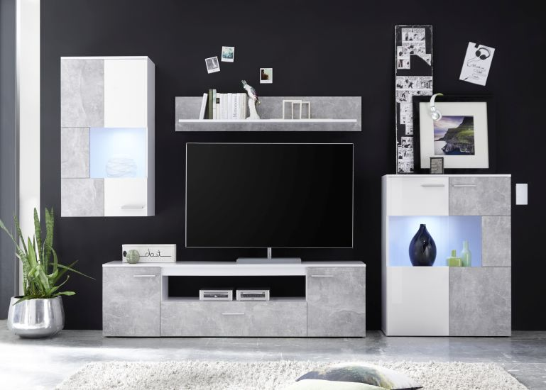 wohnwand vulcan wei betonoptik sb m bel discount. Black Bedroom Furniture Sets. Home Design Ideas