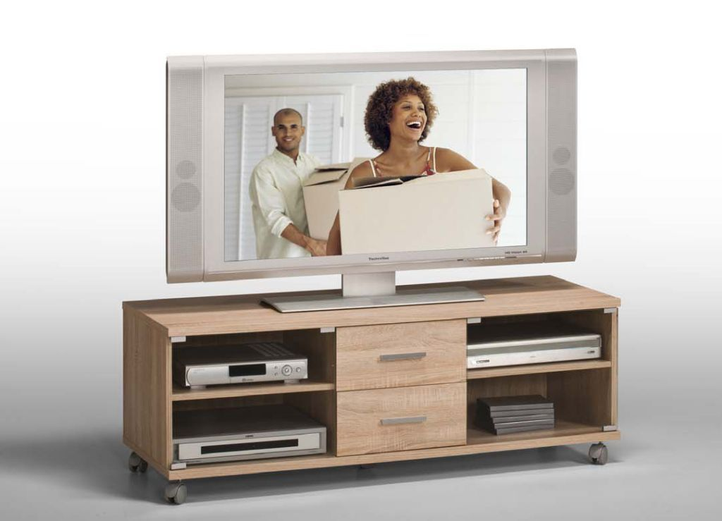 tv bank 1020 130 cm breit modern braun holzt ne mit schubladen. Black Bedroom Furniture Sets. Home Design Ideas