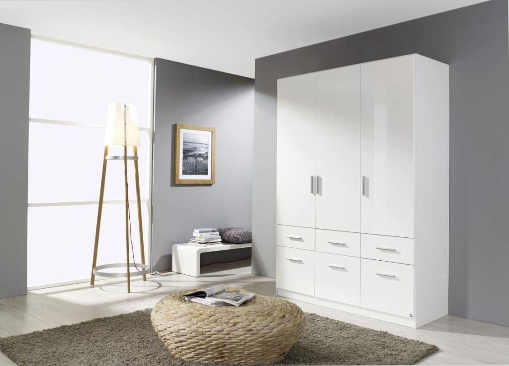 kleiderschrank celle 140 cm 130 cm breit mit schubladen 3 t rig wei. Black Bedroom Furniture Sets. Home Design Ideas