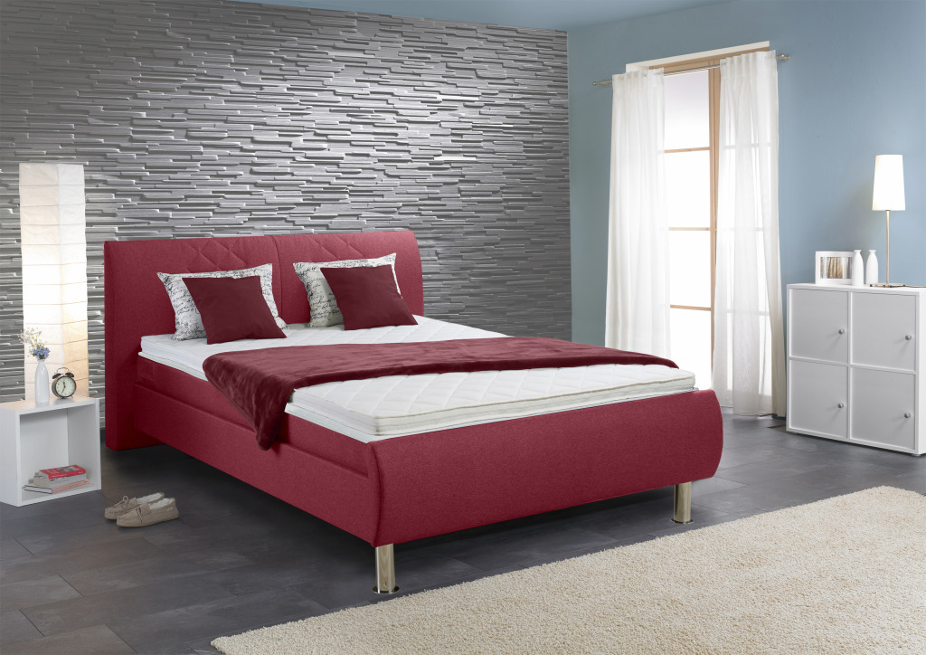 boxspringbett leo 140x200cm rot sb m bel discount. Black Bedroom Furniture Sets. Home Design Ideas