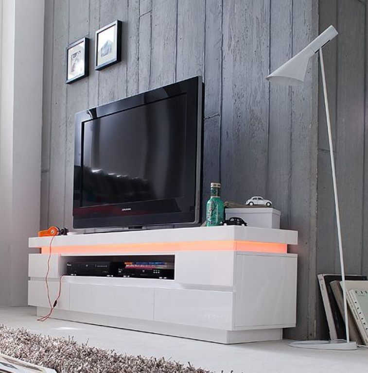 tv lowboard ocean 180 cm breit modern wei mit schubladen beleuchtung. Black Bedroom Furniture Sets. Home Design Ideas