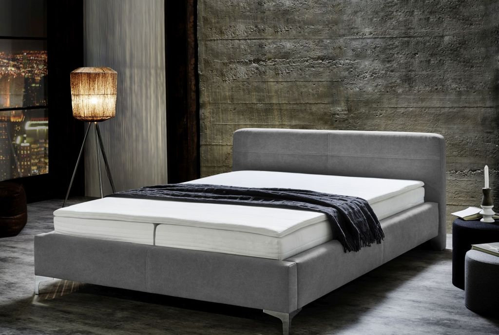 boxspringbett matera 160x200cm grau sb m bel discount. Black Bedroom Furniture Sets. Home Design Ideas