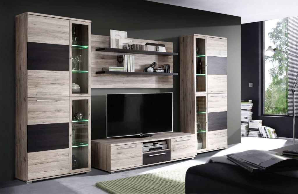 wohnwand allister modern 330 cm breit eiche braun holzt ne. Black Bedroom Furniture Sets. Home Design Ideas