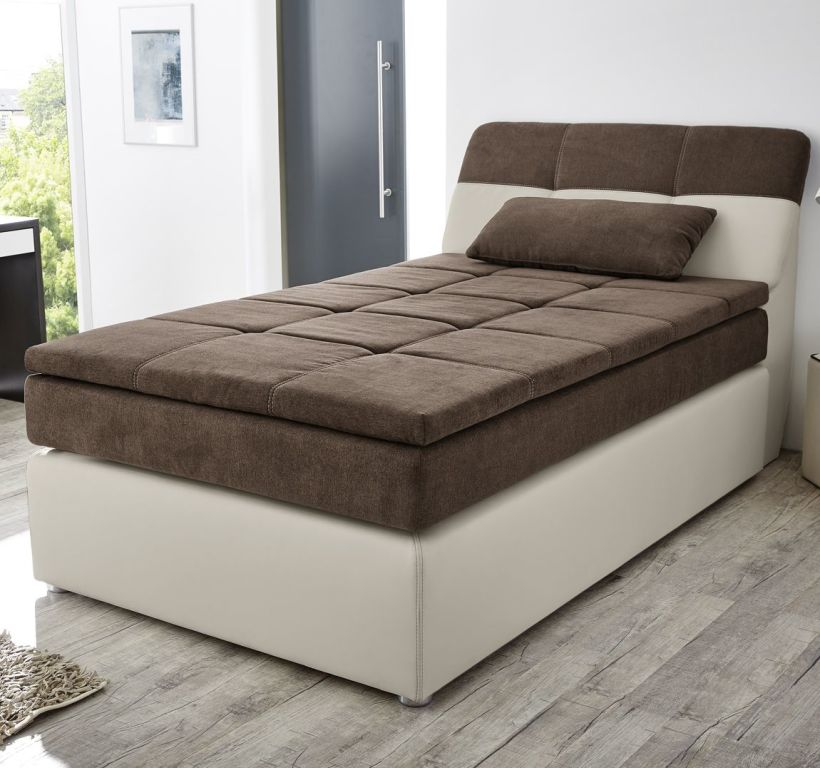 boxspringbett odessa 120x200cm greige braun sb m bel. Black Bedroom Furniture Sets. Home Design Ideas