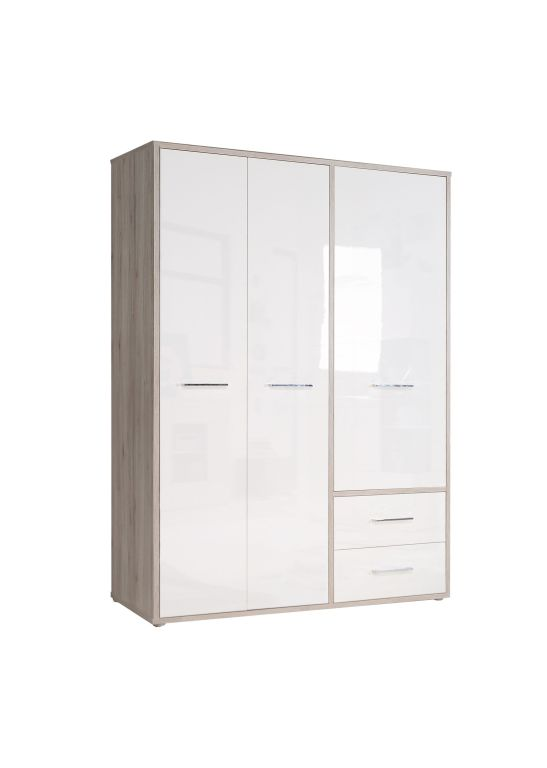 kleiderschrank jandia 150 cm breit 3 t rig mit schubladen sandeiche wei hg. Black Bedroom Furniture Sets. Home Design Ideas