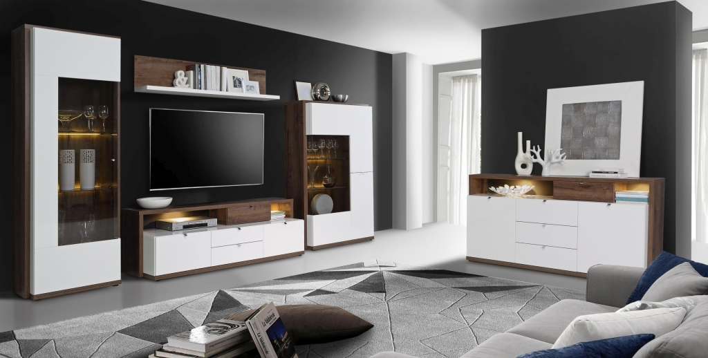wohnwand alcano 360 cm 330 cm breit wei braun holzt ne. Black Bedroom Furniture Sets. Home Design Ideas