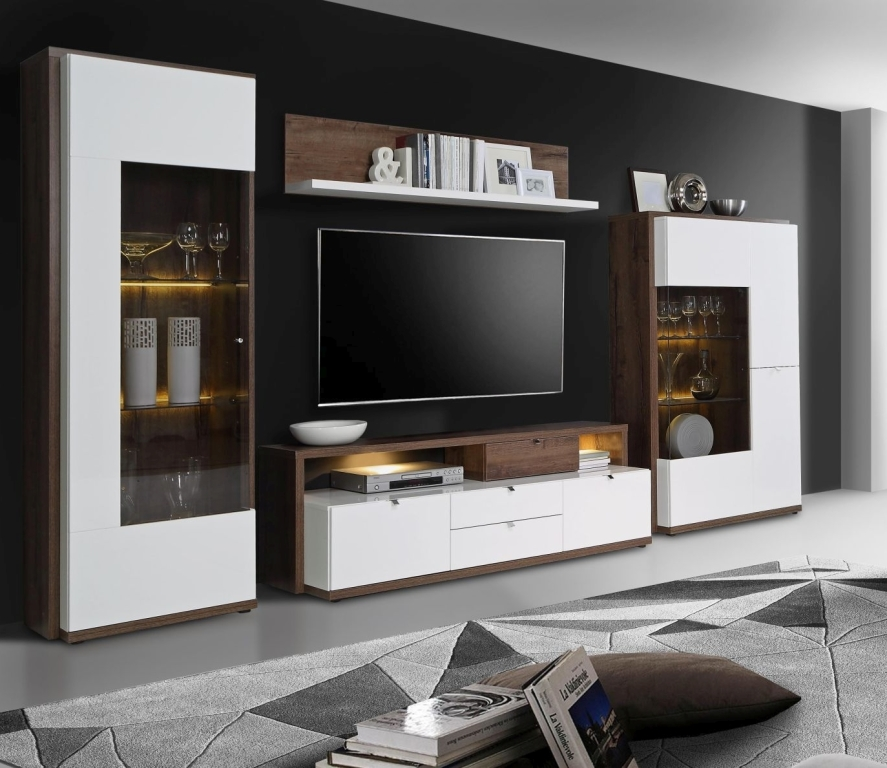 wohnwand alcano braun wei sb m bel discount. Black Bedroom Furniture Sets. Home Design Ideas