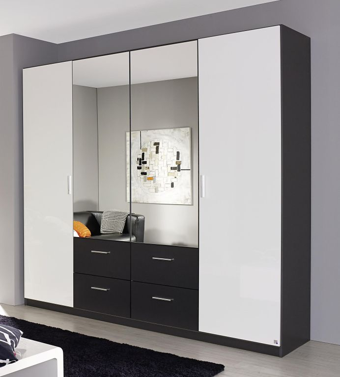 dreht renschrank passau 230 cm breit mit schubladen mit spiegel 4 t rig wei hg grau metallic. Black Bedroom Furniture Sets. Home Design Ideas