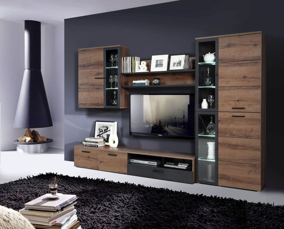 wohnwand durango sb m bel discount. Black Bedroom Furniture Sets. Home Design Ideas