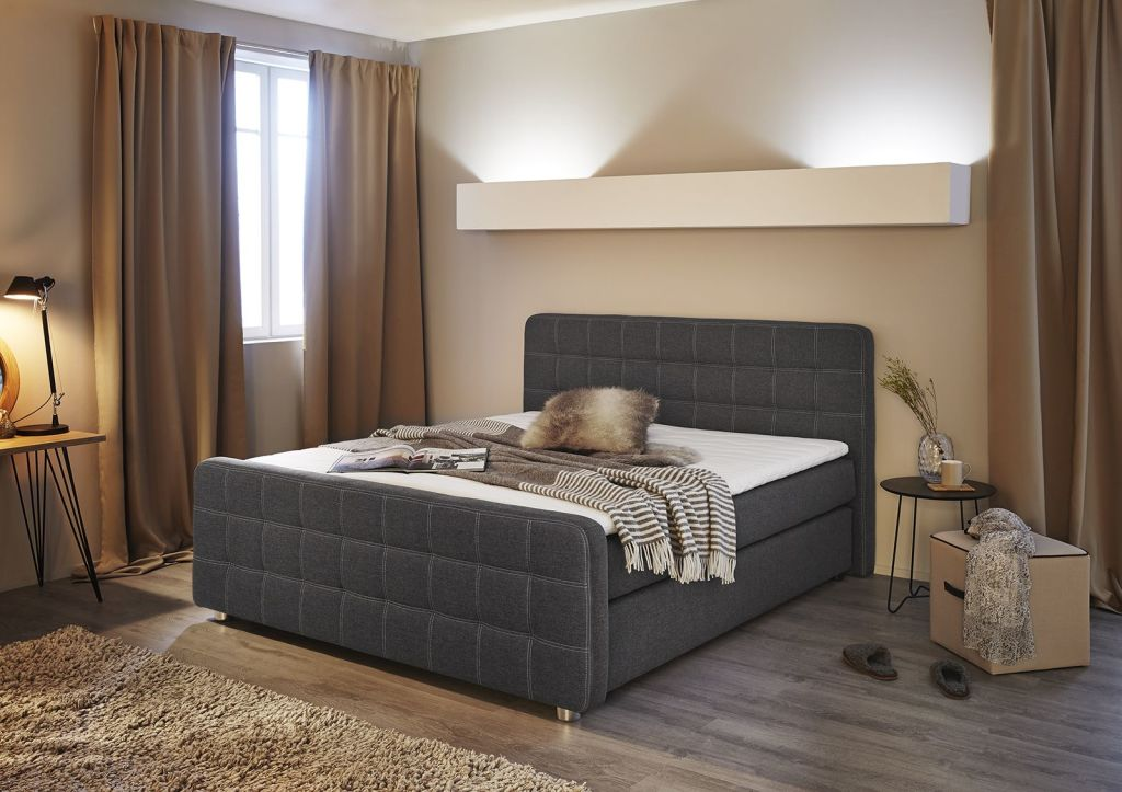 boxspringbett joy 180x200cm grau braun sb m bel discount. Black Bedroom Furniture Sets. Home Design Ideas