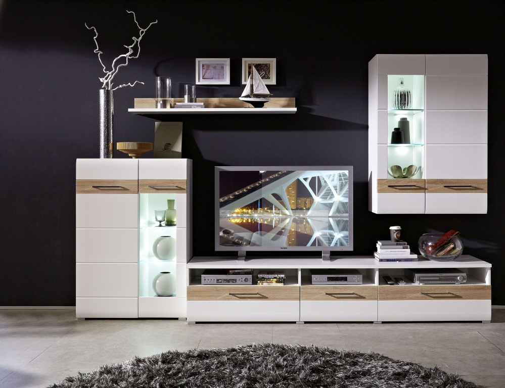 wohnwand base modern 300 cm breit eiche wei. Black Bedroom Furniture Sets. Home Design Ideas