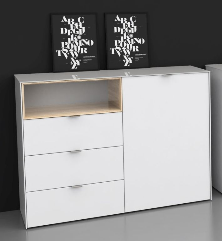 kommode stamford modern wei eiche 120 cm 130 cm breit. Black Bedroom Furniture Sets. Home Design Ideas