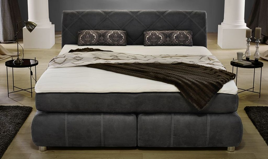 boxspringbett rebecca 180 x 200 cm grau sb m bel discount. Black Bedroom Furniture Sets. Home Design Ideas