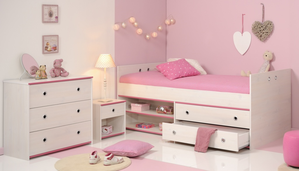 bett mit nachttisch und kommode smoozy 23b wei pink sb. Black Bedroom Furniture Sets. Home Design Ideas