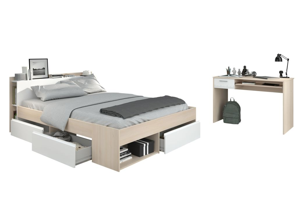 bett mit schreibtisch most 61 140x200cm akazie wei sb m bel discount. Black Bedroom Furniture Sets. Home Design Ideas