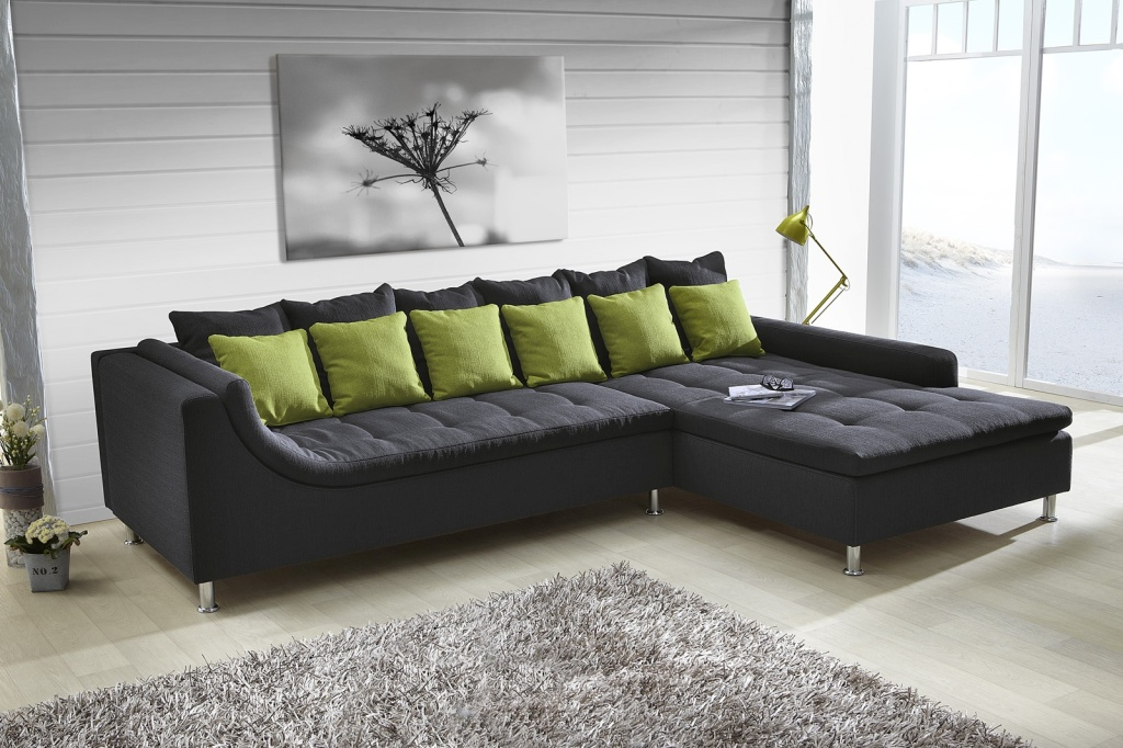 wohnlandschaft montego dunkelgrau gr n 330 cm breit. Black Bedroom Furniture Sets. Home Design Ideas