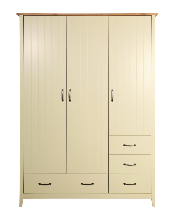 kleiderschrank norfolk 112 100 cm 140 cm breit 3 t rig mit schubladen kiefer massiv creme. Black Bedroom Furniture Sets. Home Design Ideas