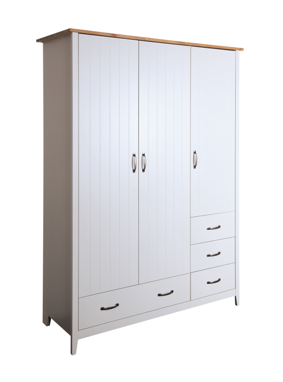 kleiderschrank norfolk 112 100 cm 140 cm breit 3 t rig mit schubladen kiefer massiv jazz grau. Black Bedroom Furniture Sets. Home Design Ideas