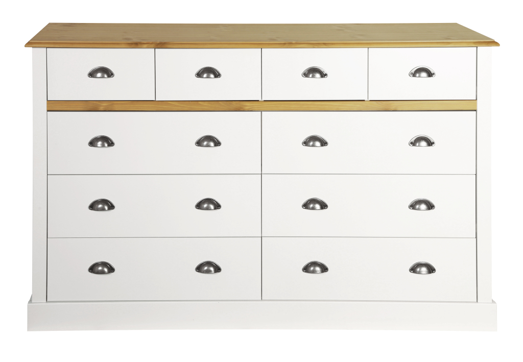 kommode sandringham 024 landhaus wei braun holzt ne kiefer 140 cm breit. Black Bedroom Furniture Sets. Home Design Ideas