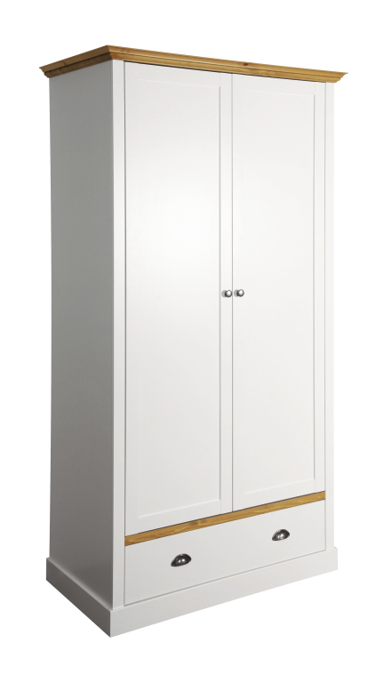 kleiderschrank sandringham 104 110 cm 100 cm breit 2 t rig mit schubladen kiefer massiv wei. Black Bedroom Furniture Sets. Home Design Ideas