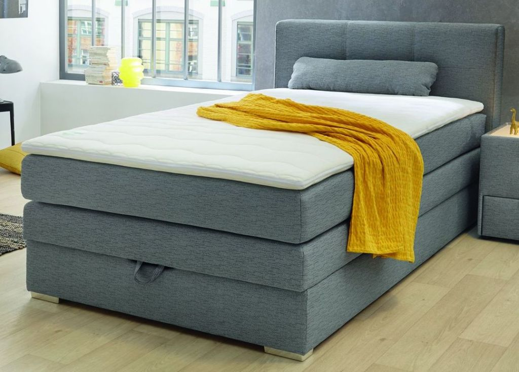 boxspringbett eve 120x200cm grau sb m bel discount. Black Bedroom Furniture Sets. Home Design Ideas