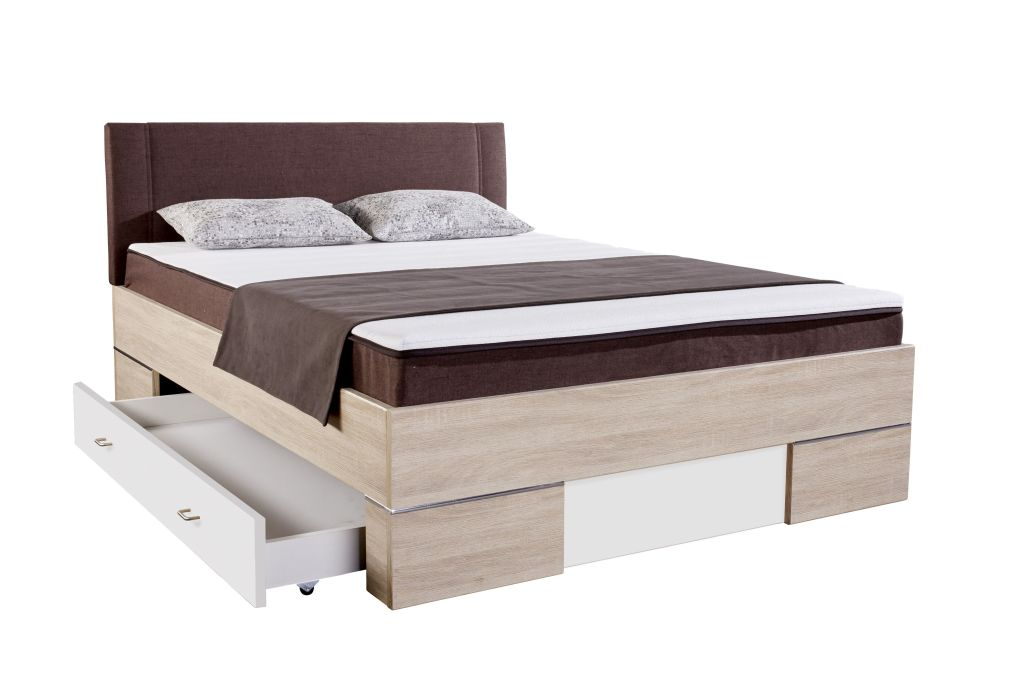 bett 140 x 200 cm globe sonoma eiche braun wei sb m bel discount. Black Bedroom Furniture Sets. Home Design Ideas