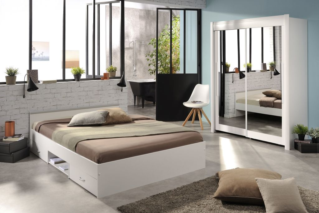 schwebet renschrank 157 cm mit stauraumbett 140x200 cm celebrity 51 wei sb m bel discount. Black Bedroom Furniture Sets. Home Design Ideas