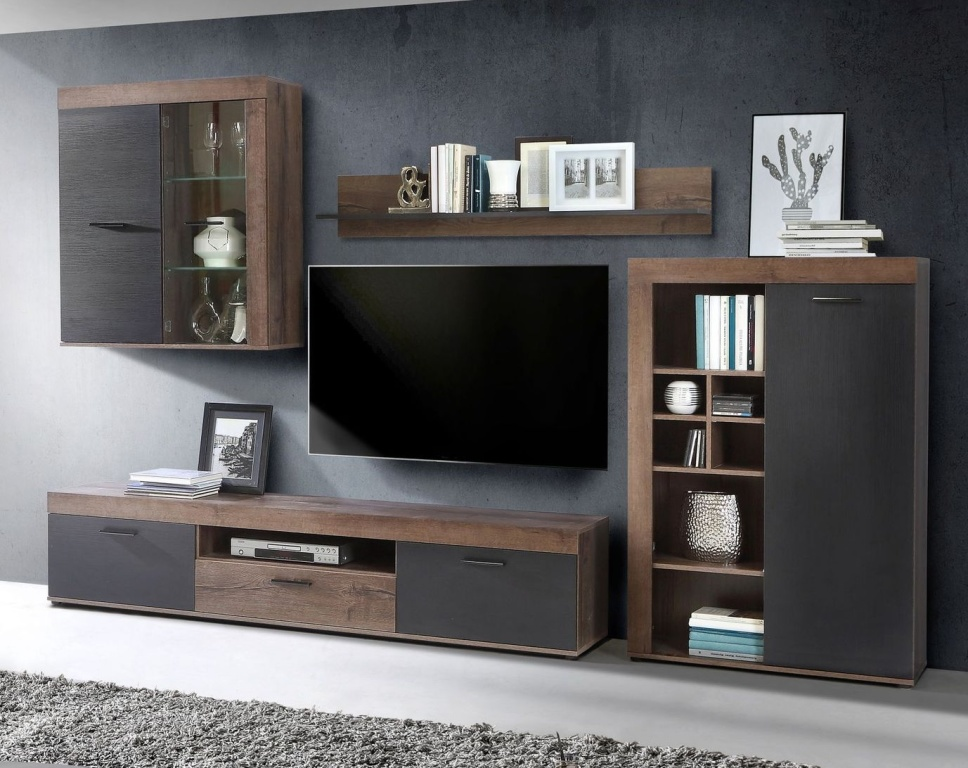 wohnwand valentin modern 300 cm breit eiche schwarz braun holzt ne. Black Bedroom Furniture Sets. Home Design Ideas