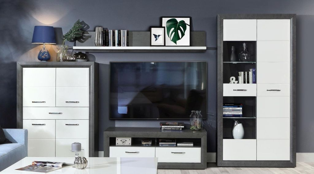 wohnwand lennox betonoptik dunkelgrau wei hochglanz sb m bel discount. Black Bedroom Furniture Sets. Home Design Ideas