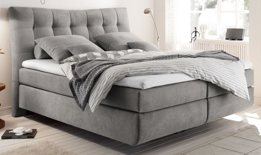 boxspringbett marie 2 180x200cm light grey sb m bel discount. Black Bedroom Furniture Sets. Home Design Ideas