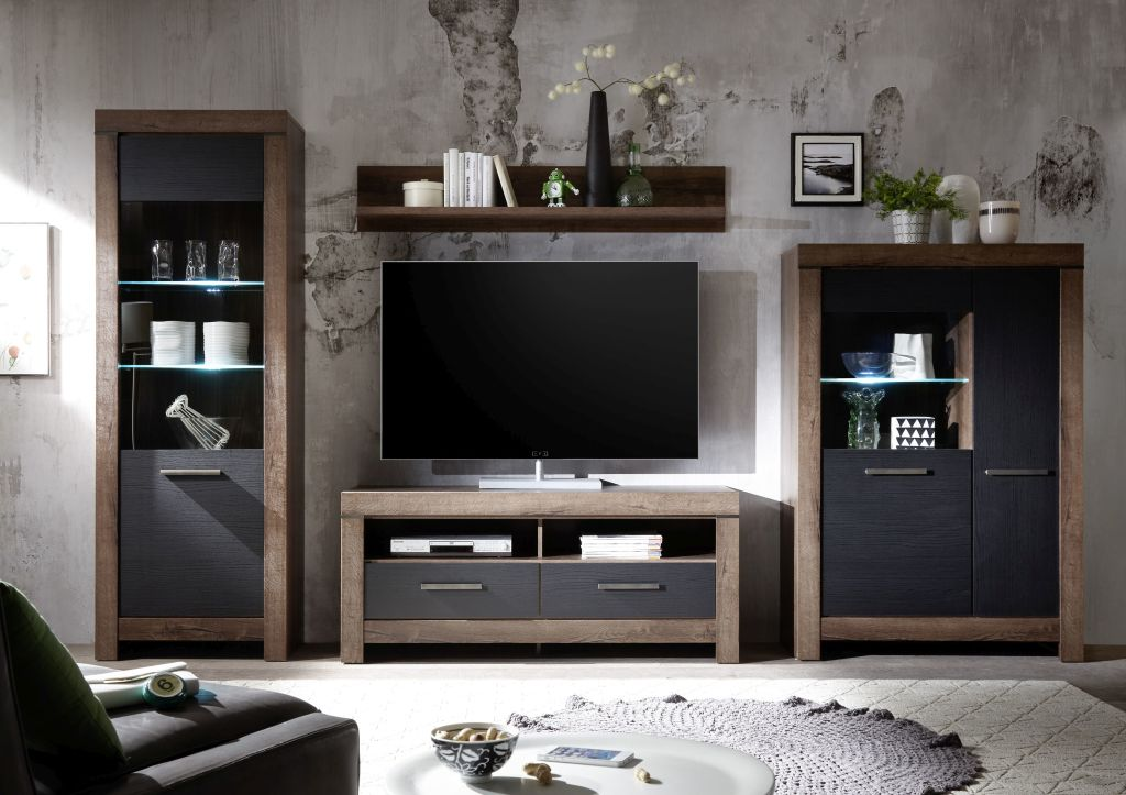 wohnwand balin modern 330 cm breit eiche braun schwarz. Black Bedroom Furniture Sets. Home Design Ideas