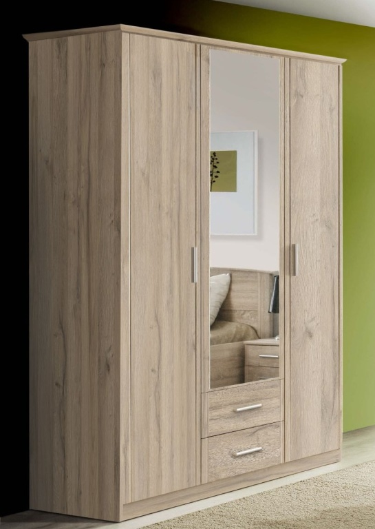 kleiderschrank gloria 140 cm breit bianco eiche. Black Bedroom Furniture Sets. Home Design Ideas