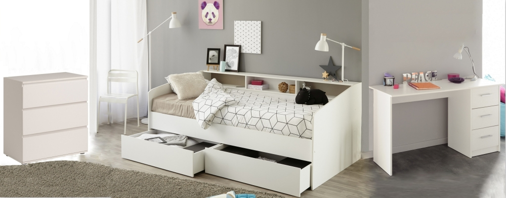 jugendbett mit schreibtisch und kommode sleep 14 wei sb m bel discount. Black Bedroom Furniture Sets. Home Design Ideas