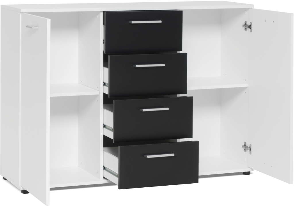sideboard jacky 2 modern schwarz wei 120 cm breit. Black Bedroom Furniture Sets. Home Design Ideas