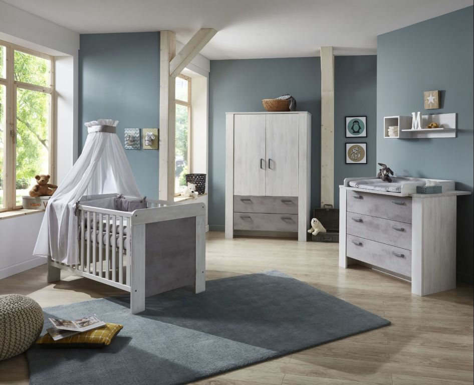 Babyzimmer-Set 3-teilig LAURA White Washed Wood-Stone | SB ...