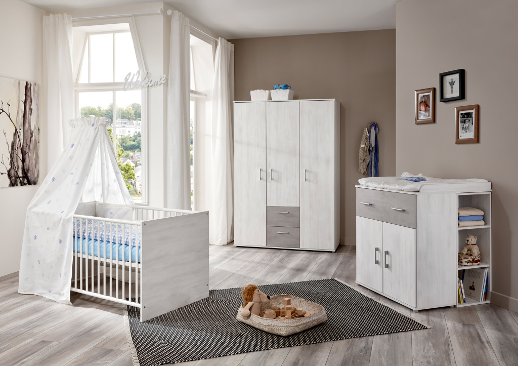 Babyzimmer-Set 3-teilig FERDI White Washed Wood-Stone