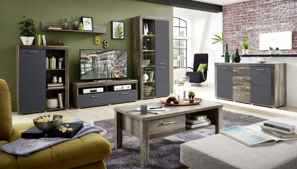 wohnwand mit sideboard und couchtisch crown x modern grau braun. Black Bedroom Furniture Sets. Home Design Ideas